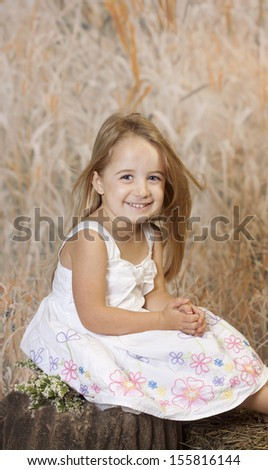 Beautiful country girl sitting on a log for her portraits. - stock photo