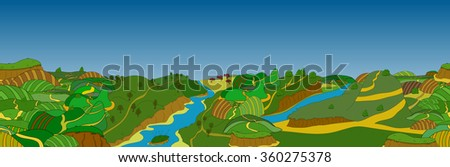 Beautiful country landscape. illustration which trees - stock photo