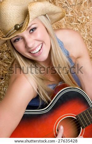Beautiful Country Music Woman - stock photo