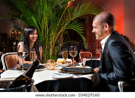 Beautiful couple at restaurant on romantic date