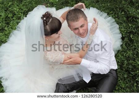beautiful couple at the wedding - stock photo