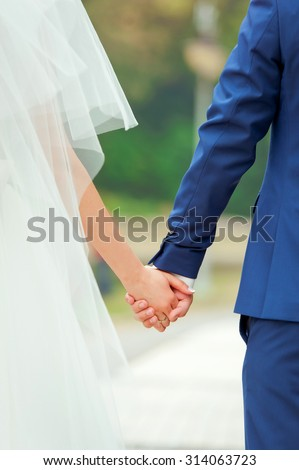 Beautiful couple holding hands. Back view. Bride and groom.