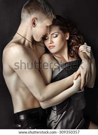 Beautiful couple in embrace