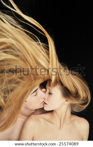 Beautiful couple in love kissing each other