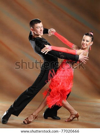 beautiful couple in the active ballroom dance - stock photo
