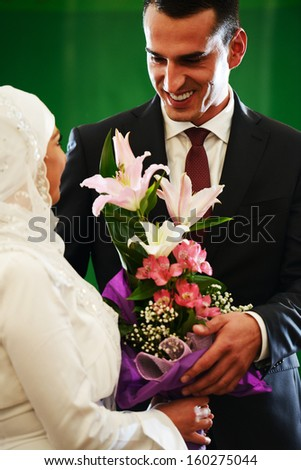 Beautiful couple just married - stock photo