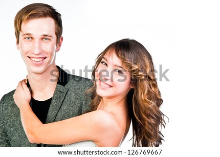 beautiful couple loving each other young people