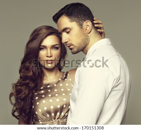 Beautiful couple posing  - stock photo
