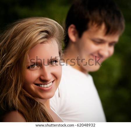 beautiful couple smiling closeup