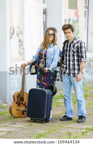 Beautiful couple traveling