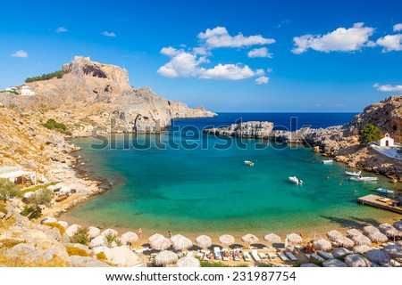 Beautiful cove at St Pauls Bay Lindos Rhodes Greece Europe - stock photo