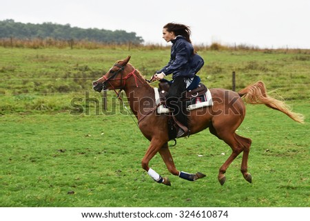 Beautiful cowgirl riding a horse in a barrel race at a rodeo. - stock photo