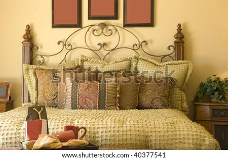 Beautiful cozy traditional style bedroom Decor - stock photo