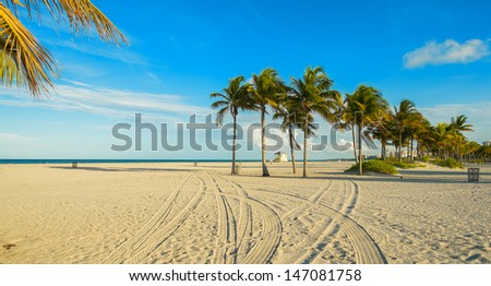 Beautiful Crandon Park Beach located in Key Biscayne in Miami. - stock photo