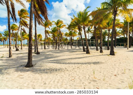 Beautiful Crandon Park Beach with rental cabanas located in Key Biscayne in Miami. - stock photo