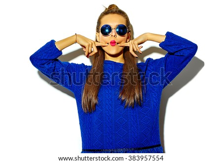 "beautiful crazy smiling brunette woman girl in casual hipster summer colorful clothes with red lips isolated on white  in sunglasses making funny ""fish-face"""