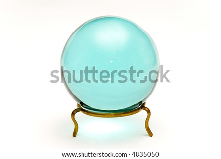 beautiful crystal ball over white background - stock photo