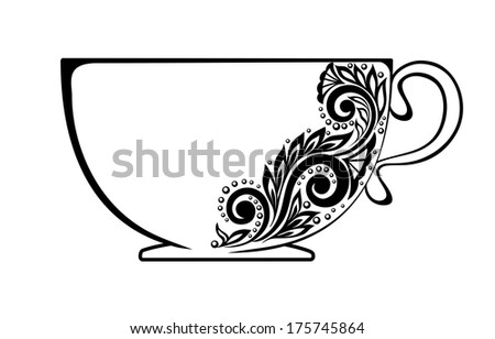 Beautiful cup, decorated with black and white floral ornament - stock photo