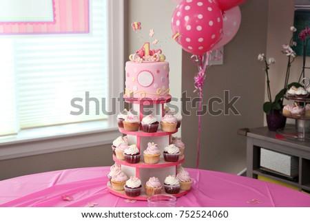 Birthday Cakes Beautiful Pictures ~ Beautiful cupcake cakes birthday cake arrangement stock photo