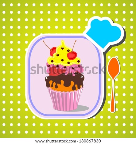 Beautiful cupcake with cherry on the top. Dessert menu - stock photo