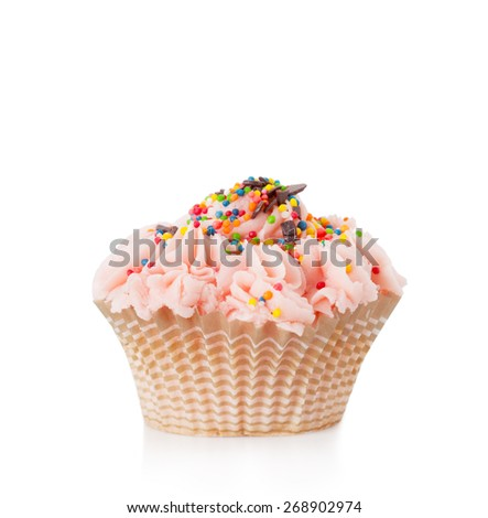 Beautiful cupcake with pink cream on a white background, it is isolated - stock photo