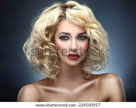 Beautiful curly blonde (blue background)