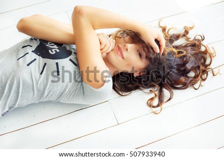 video clip stock fooe excited woman playing with hair full photo jpeg