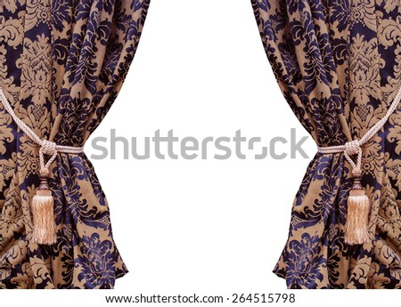 Beautiful curtains with tassels isolated on white background. - stock photo