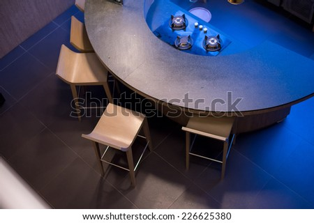 Beautiful curve design in stylish kitchen - stock photo