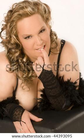 beautiful curvy woman - stock photo