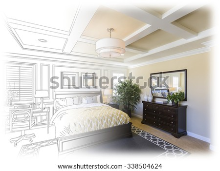 Beautiful Custom Bedroom Drawing Gradation Into Photograph. The framed art is photographer's copyright. - stock photo
