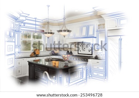 Beautiful Custom Kitchen Blue Design Drawing and Photo Combination. - stock photo