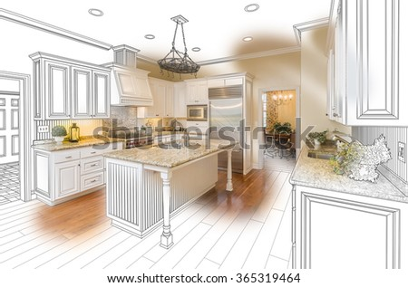 Beautiful Custom Kitchen Design Drawing and Brushed In Photo Combination. - stock photo