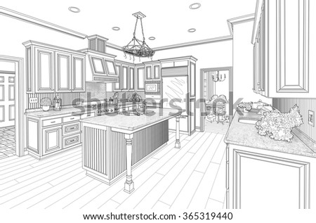 Beautiful Custom Kitchen Design Drawing in Black on White. - stock photo