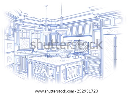 Beautiful Custom Kitchen Design Drawing in Blue Isolated on White. - stock photo