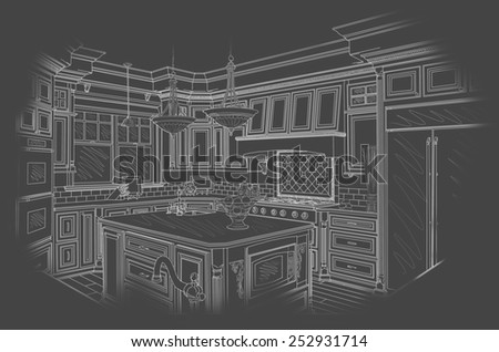 Beautiful Custom Kitchen Design Drawing in White On Grey Background. - stock photo