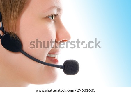 beautiful customer support girl in headphones in half face on white background - stock photo