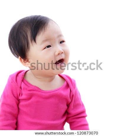 Beautiful cute baby girl look to empty copy space with white background. - stock photo