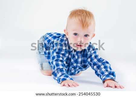 Beautiful cute baby on white background - stock photo