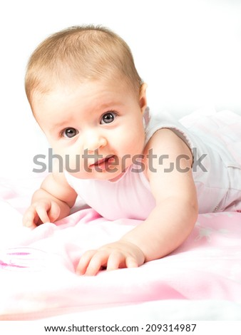 Beautiful cute baby with pink blankets