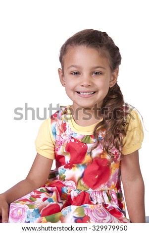 Beautiful Cute Little Girl Posing on an Isolated White Background - stock photo