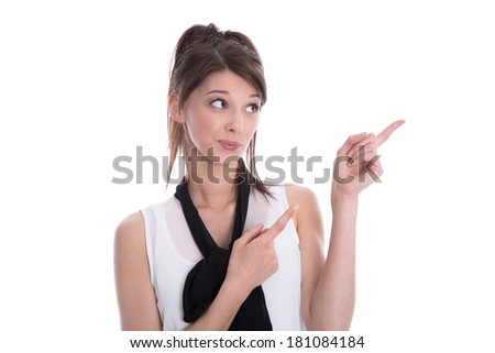 Beautiful cute young woman pointing with her fingers - isolated on white. - stock photo