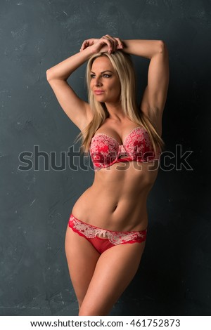Beautiful Czech blonde in red lingerie