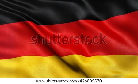 Beautiful 3D illustration of the German flag waving in the wind.