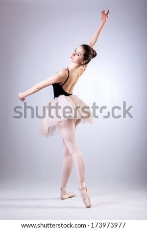 Beautiful dancer during ballet training in pointes