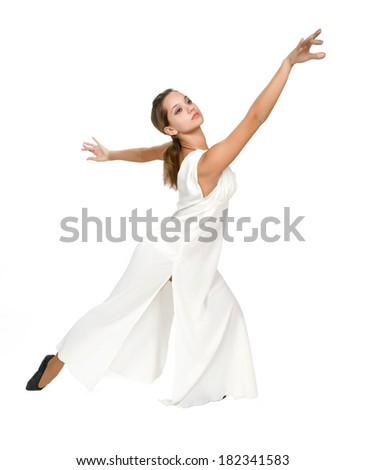 Beautiful dancer in tunic on white background.