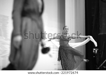Beautiful dancer on the stage, monochrome - stock photo