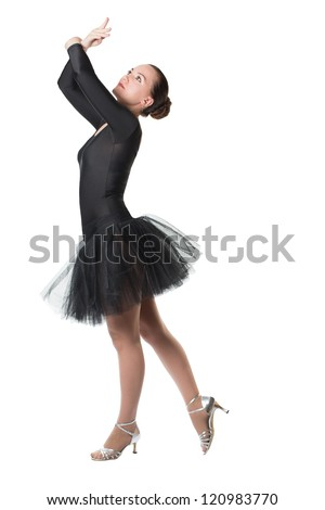 beautiful dancer woman ballerina dancing ballet with tutu on white background - series of photos