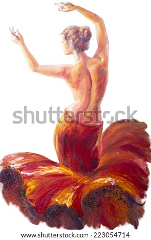 Beautiful dancing woman in red. Oil painting. Isolated on white.
