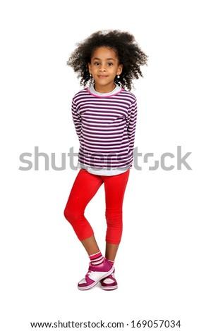 Beautiful dark girl posing isolated in white - stock photo